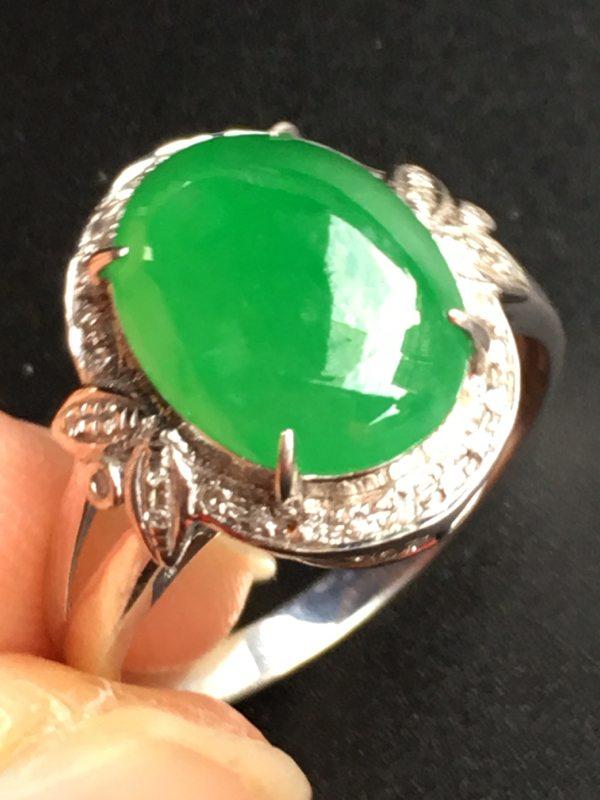 冰种满绿戒指 18K金镶嵌