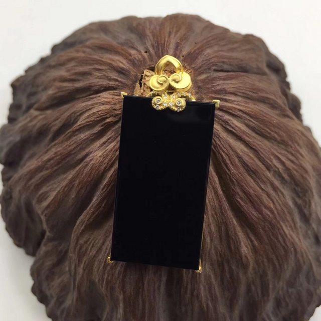 墨翠无事牌翡翠吊坠 18K黄金镶嵌 连金尺寸32.4-17.1-4mm