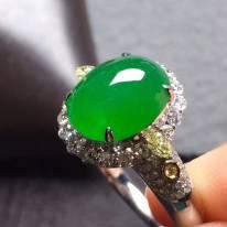 10.3*85*5寸冰阳绿 缅甸天然翡翠戒指