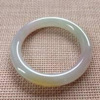 冰種黃翡手鐲  緬甸天然翡翠圓條手鐲  尺寸:55.2x10x10mm
