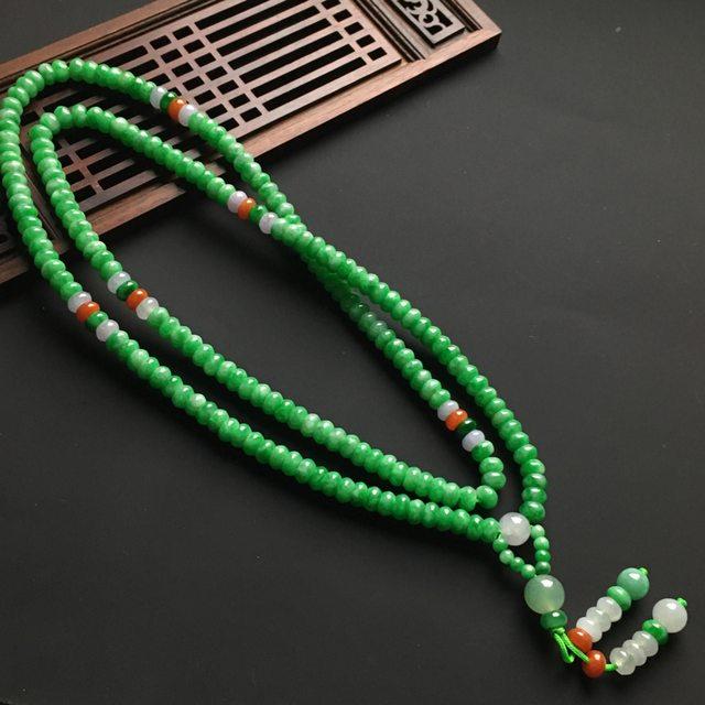 满色盘珠翡翠项链 单个6-4毫米