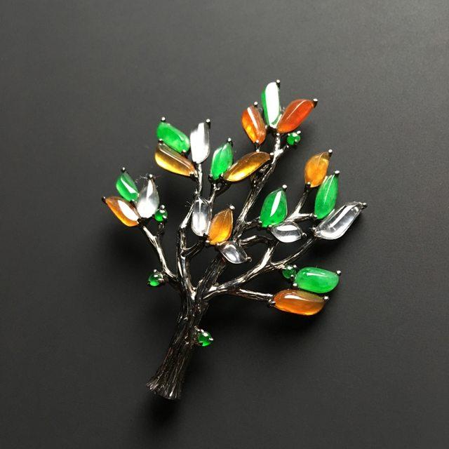 三彩圣诞树 翡翠胸针 整体尺寸49-36-7毫米图3