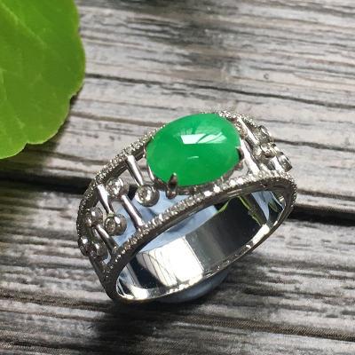 冰種滿綠蛋面 天然翡翠金鑲鉆18k金戒指