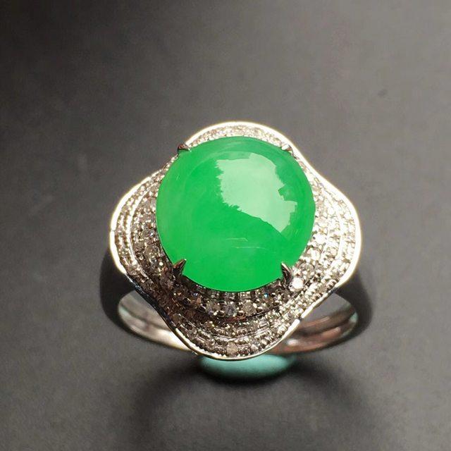 10.6*9.7*5mm冰种阳绿花型 翡翠戒指