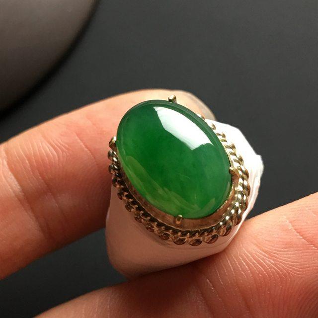 糯种满绿 缅甸天然翡翠戒指 15-11-4.2毫米图2