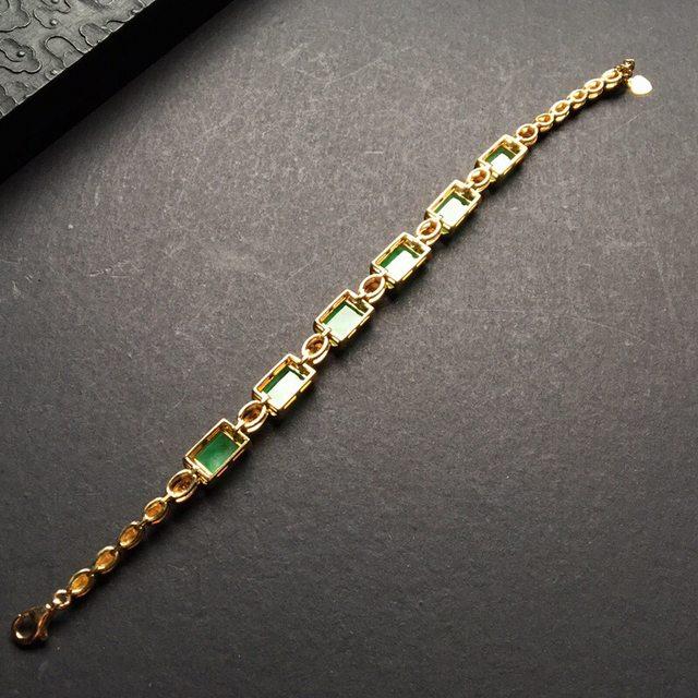糯冰种带色翡翠手链 重金豪华镶嵌图8