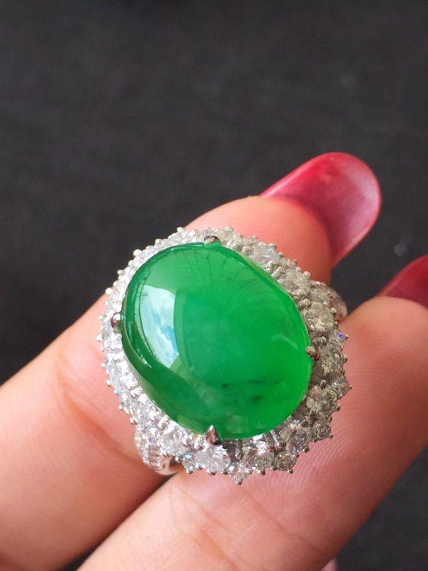 冰种辣色正阳绿木那翡翠 缅甸天然翡翠戒指