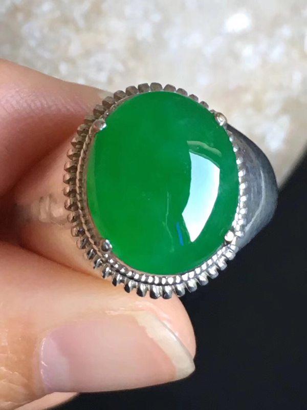老坑冰种辣阳绿 翡翠戒指14.3-12-4.8mm
