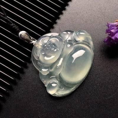 冰種笑佛 翡翠吊墜 尺寸: 35-29-7.5mm