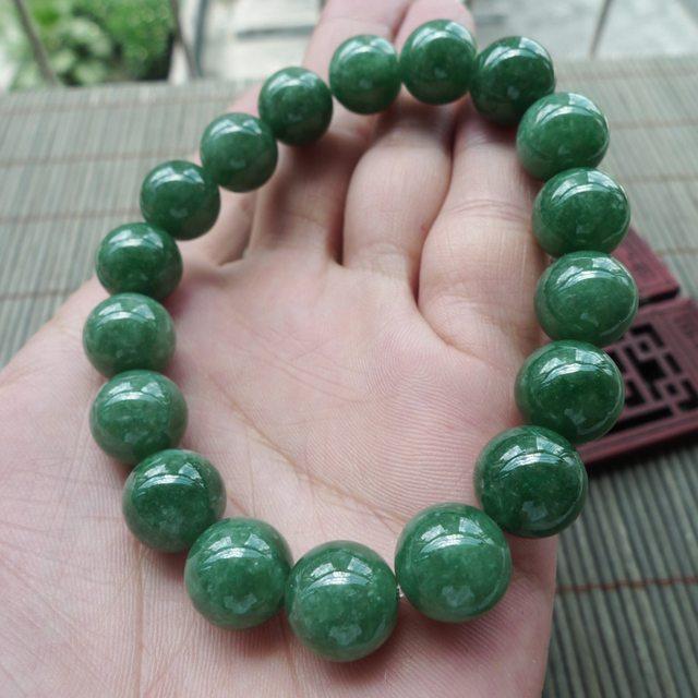 满绿翡翠圆珠手链 珠大11.5mm