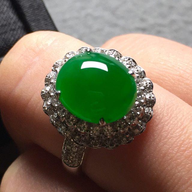 11.6*9.8*6寸冰阳绿 缅甸天然翡翠戒指