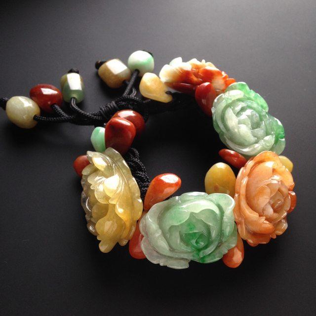 巧雕多彩 花开富贵翡翠手链 单颗尺寸27-21-10mm