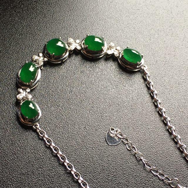 冰种满绿翡翠手链