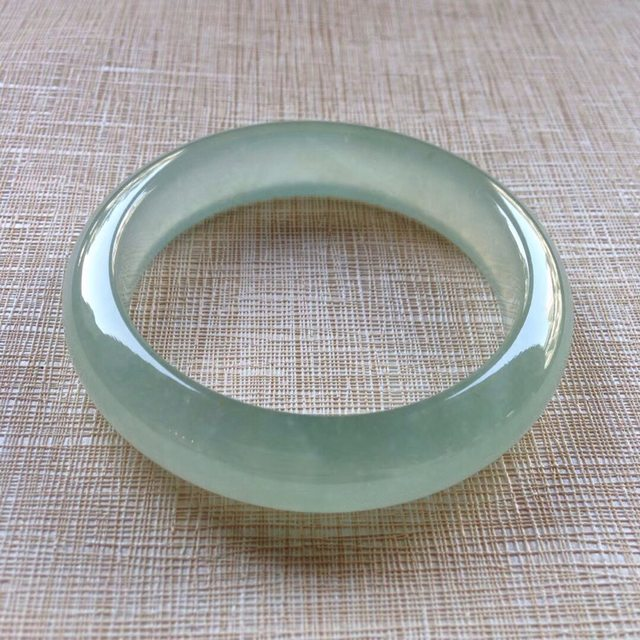 冰种晴水翡翠手镯 缅甸天然翡翠平安镯 54寸