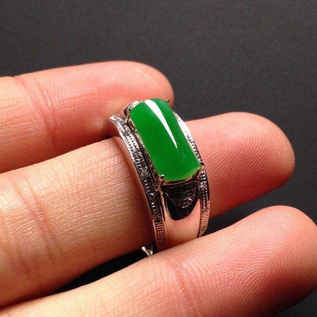 冰种阳绿马鞍 缅甸天然翡翠戒指