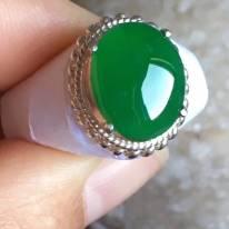 12.5-10.3-4寸老坑冰种辣阳绿色 缅甸天然翡翠戒指