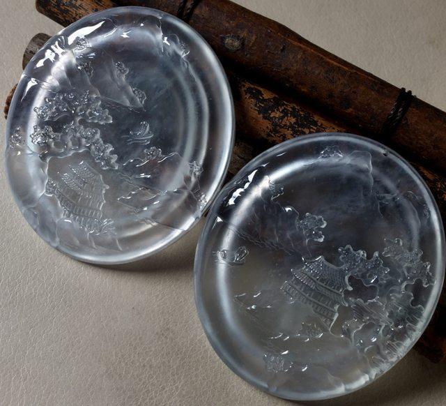 玻璃种山水翡翠挂件 尺寸50.8*44.6*6.4