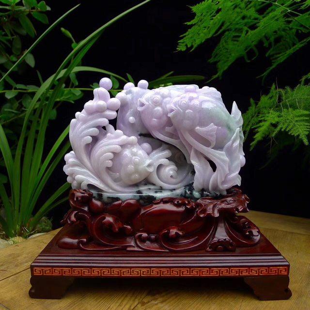 205-240-105寸糯种春带彩翡翠鱼摆件 连底座