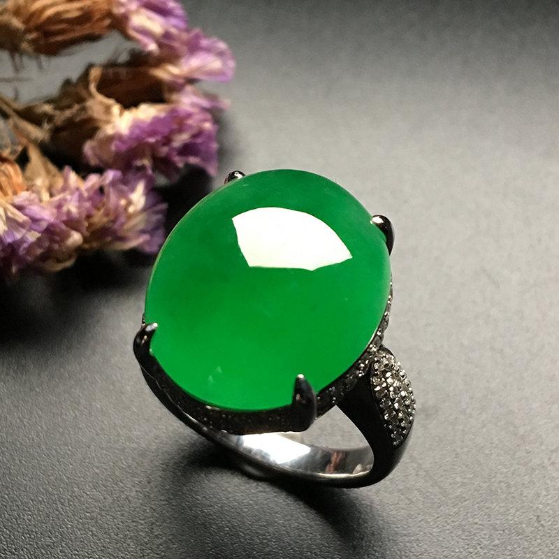 冰种满绿 天然翡翠戒指