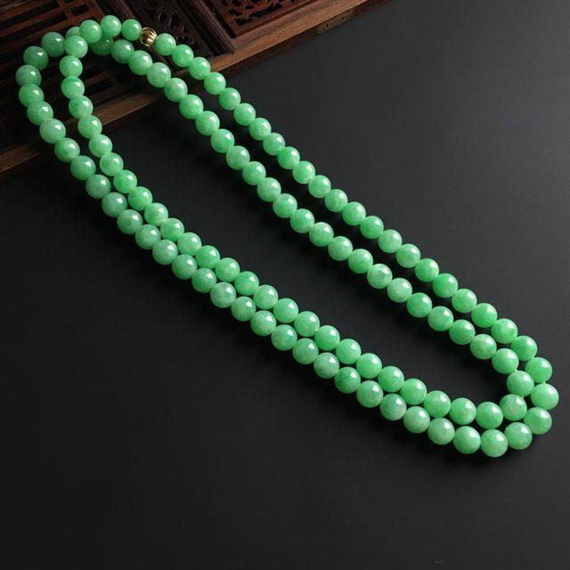 满色佛珠翡翠项链 单颗直径7.5毫米