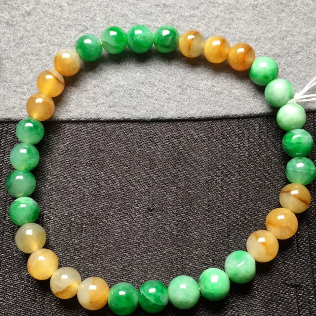 黄加绿天然翡翠手串6