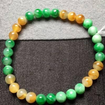 黃加綠天然翡翠手串6