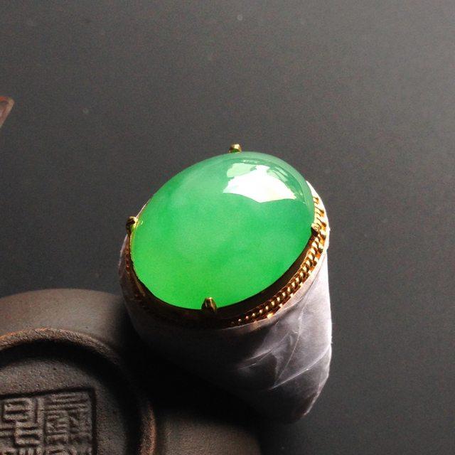 冰种阳绿 缅甸天然翡翠戒指  铜托