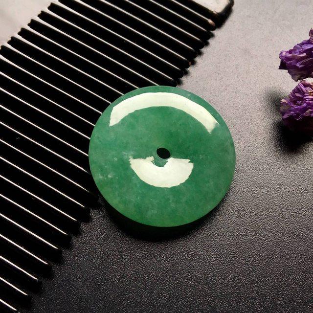 冰种满绿翡翠平安扣吊坠 尺寸: 29-6.5mm