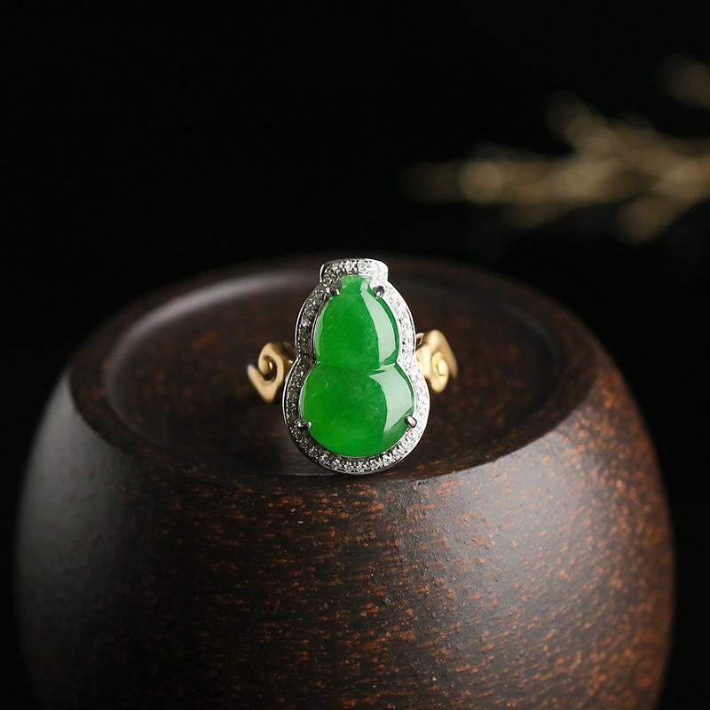 冰糯种满绿葫芦 天然翡翠18k金戒指