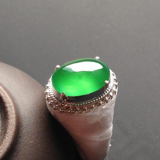 冰种阳绿 缅甸天然翡翠铜托戒指
