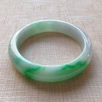 糯冰种飘绿翡翠手镯 缅甸天然翡翠手镯  尺寸57.4寸