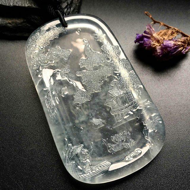 高冰山水牌 翡翠吊坠 尺寸: 67-40-5mm