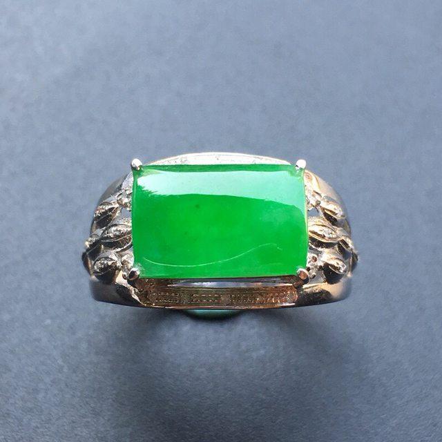 12.5*8.3*3寸冰种阳绿马鞍 翡翠戒指