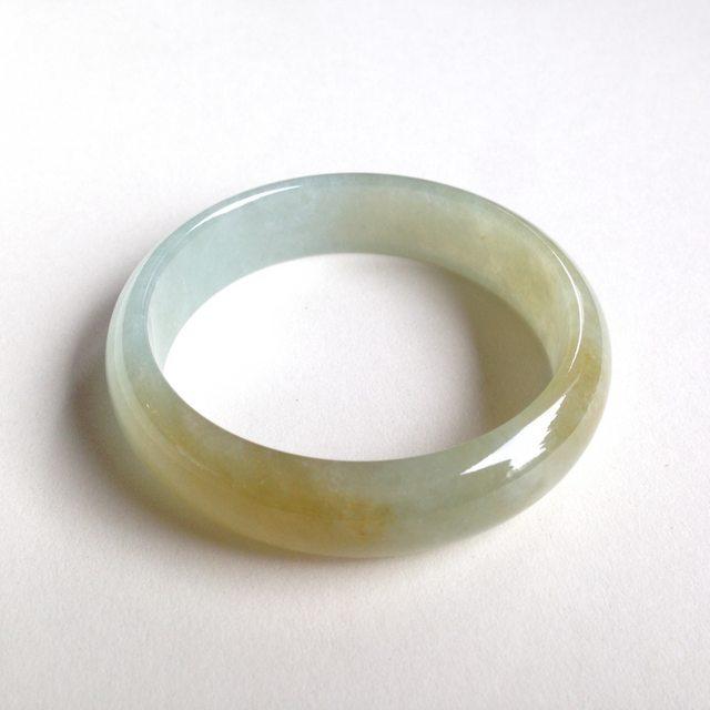 冰糯种蜜糖黄手镯 天然翡翠正圈平安镯 尺寸:53.9/14.1/6.4mm