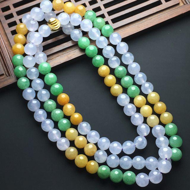 糯化种三彩翡翠佛珠项链