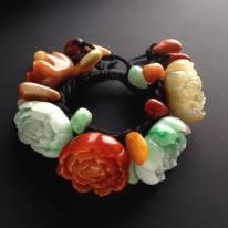 巧雕多彩花开富贵翡翠手链单颗28-24-12毫米