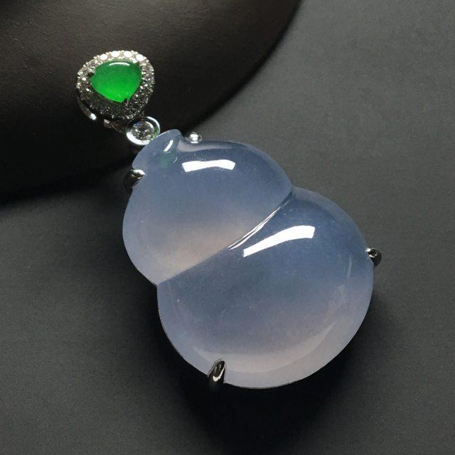冰种紫罗兰 葫芦翡翠吊坠 18k金*钻石镶嵌 尺寸:37-21-9.5*裸石26-21-6.5毫米