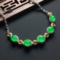 高冰种阳绿翡翠手链8.5-6.5-3.5毫米