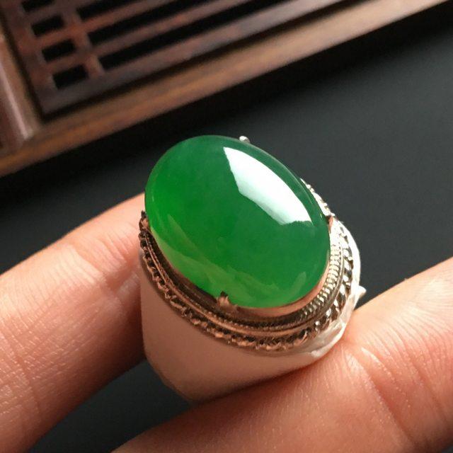 20-15-5寸冰阳绿 缅甸天然翡翠戒指