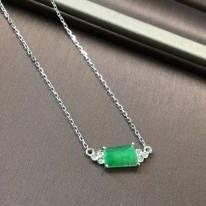 阳绿翡翠随形锁骨链7.8*5.2*3.8mm