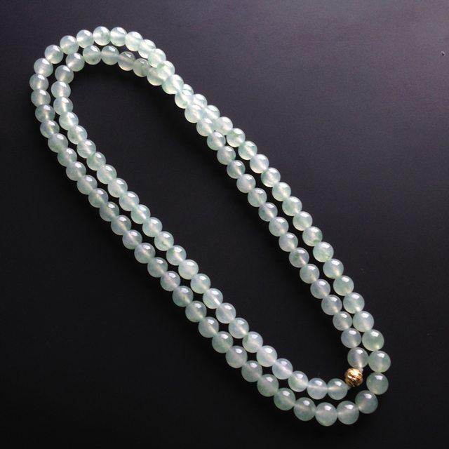 冰种飘花 翡翠项链 单颗尺寸7mm