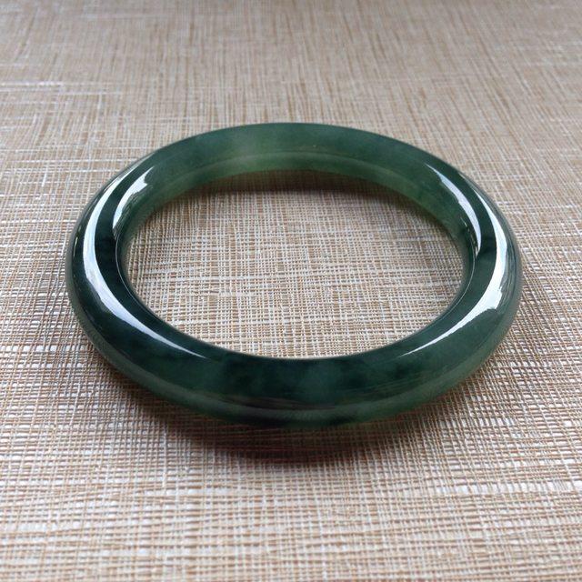 冰种起胶浓绿翡翠手镯  天然翡翠圆条手镯 54.1-9.1-9.4