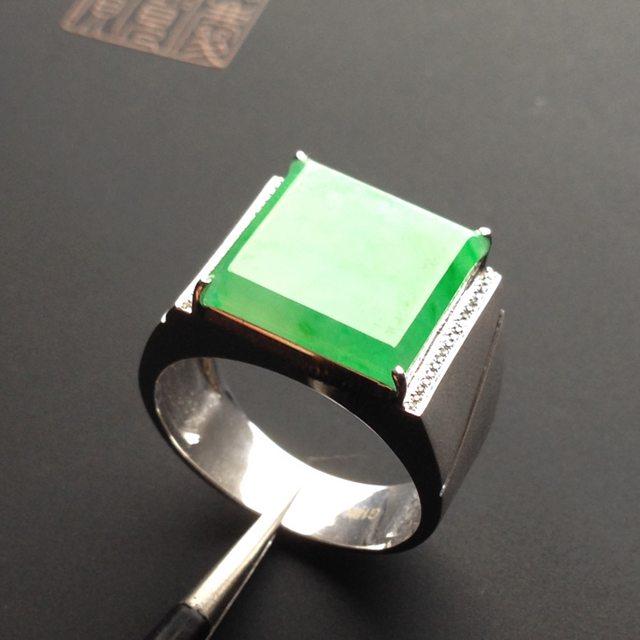 冰种阳绿 翡翠戒指 13-13-2.6毫米