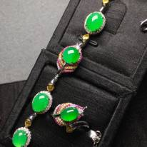 冰陽綠翡翠手鏈套裝 手鏈9.5*7.3*4 戒指8*5.8*4