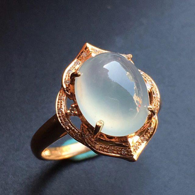 冰种晴水 缅甸天然翡翠戒指大小11.3*9.2*5mm