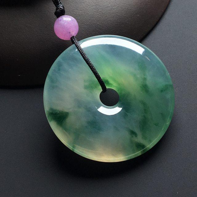 冰种飘绿花平安扣 翡翠挂件 尺寸:30-5.8毫米
