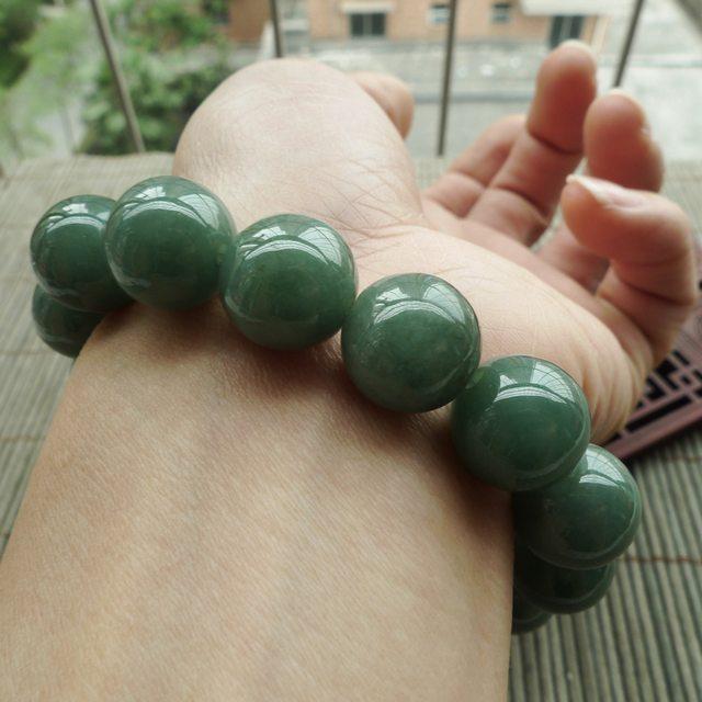 A货翡翠 油青满绿圆珠翡翠手链