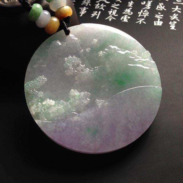 细糯种椿带彩山水牌翡翠挂件 尺寸54-6毫米