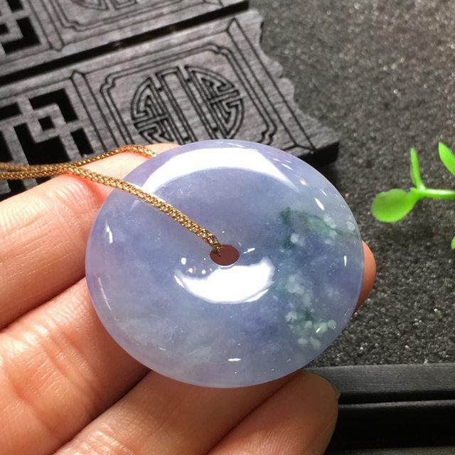 紫冰平安扣 翡翠挂件 尺寸36.0*5.9mm