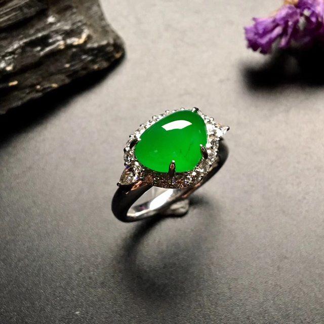 冰种满绿心形 缅甸天然翡翠戒指